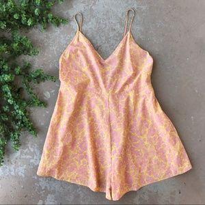 Anthropologie Lilka Floral Saffron Lace Up Romper